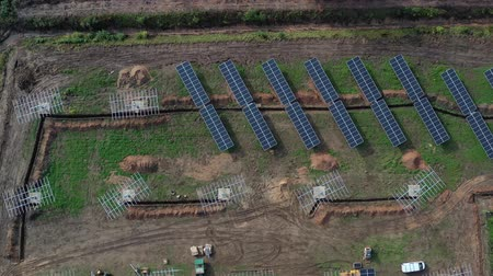 sustainable resources : Place of work new  solar power station, aerial view