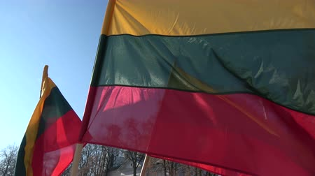 Литва : Lithuanian national flags in wind on sky background
