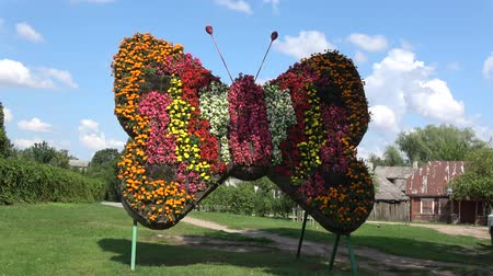 beautiful butterfly symbol decoration made of many flowers in street, zoom out