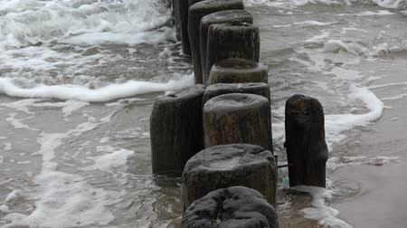 balti tenger : Old ruined  wooden posts jetty piles fragment  on  sea beach and waves Stock mozgókép