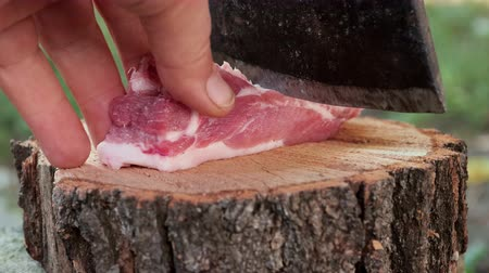 Meat Chopped with an ax on a log