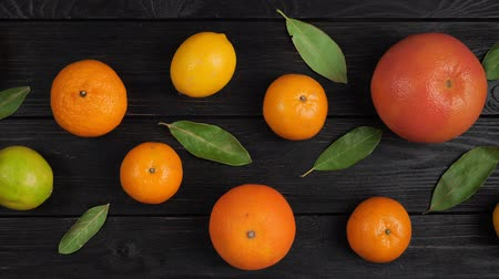 videocamera : Citrus fruits: Lemon, Grayfruit, Mandarin, Orange, Lime on a dark gray wooden background. Top view. 4k video.Camera movement from right to left Stock Footage