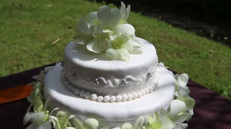 wedding cake : rotate fresh white orchid and beads decorated wedding cake with green grass on background