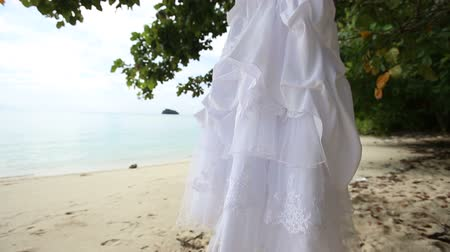 uzun : white wedding dress hangs on clothes hanger on green tree at sand beach against tropical island
