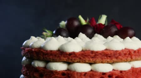bizet : top of delicious cake with bizet, grapes and roses
