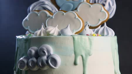 bizet : blue birthday cake decorated on sky theme