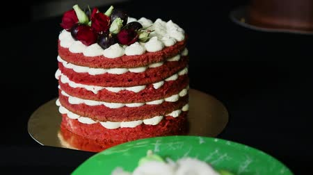bizet : homemade red cake with bizet, grapes and roses