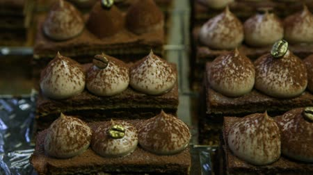 ароматический : panorama from above on many opera cake slices
