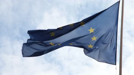 avrupa birliği : European flag flowing in the wind with a blue sky and white clouds Stok Video