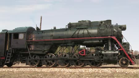 iron pipe : old train with steam engine. Audio included