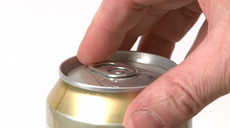 drink cans : Man opening a beer can. White background. Stock Footage
