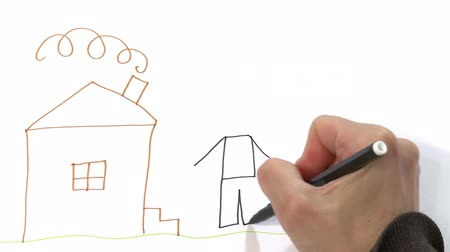 alegorie : Womans hand drawing house with family outside. Quick motion