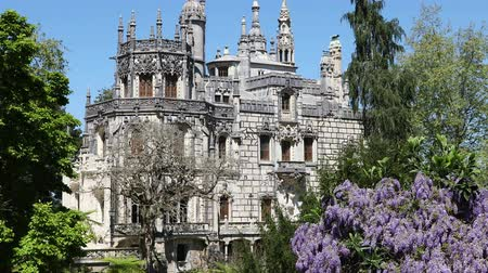 monteiro : SINTRA - APRIL 07: Quinta da Regaleira palace located in the municipality of Sintra, about 25km northwest of Lisbon. April 07, 2017 in Sintra, Portugal Stock Footage