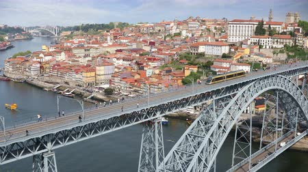 dom : Video shot of central part of the Porto city with Douro river and Dom Luis I bridge, Portugal