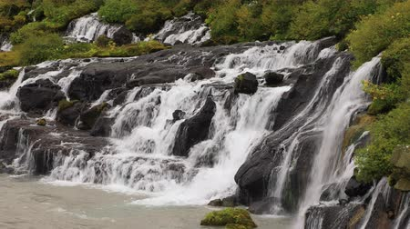 hraunfossar : View of Hraunfossar waterfall in Iceland close-up Stock Footage