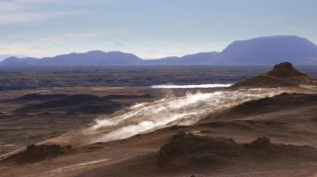 fumaroles : Amazing view of steaming sulfur fumaroles in Hverir Namafjall geothermal place in Iceland