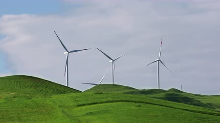 hatékonyság : Group of wind turbines on spring field on a sunny day