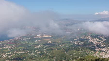 Panoramic view of the Sicilian coast from mount Erice. The province of Trapani in Sicily, Italy
