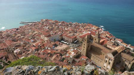 Panoramic birds-eye view of the central part of the Sicilian town of Cefalu. Cefalu is one of the major tourist attractions in the Sicily region, Italy