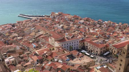 Panoramic view of the central part of the Sicilian town of Cefalu. Cefalu is one of the major tourist attractions in the Sicily region, Italy