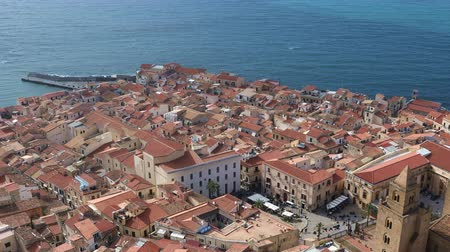 The central part of the Sicilian town of Cefalu city. Cefalu is one of the major tourist attractions in the Sicily region, Italy