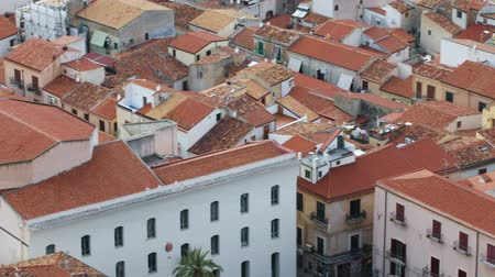 Panoramic view of the roofs of the old town of Cefalu, Italy. Cefalu is one of the major tourist attractions in the Sicily region, Italy