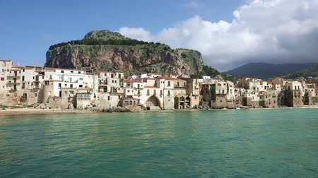 sycylia : Panorama of the coastline of the old town of Cefalu in Sicily, Italy