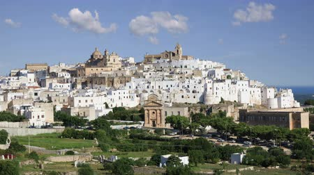 View of the stunning  white city of Ostuni in Puglia, Italy