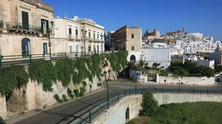 Panoramic view of an amazing white city of Ostuni in Puglia, Italy Стоковые видеозаписи