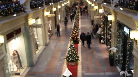 public worker : top view people in shopping Mall, blurred, choosing gifts for Christmas and new year rush