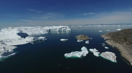 disko bay : Icebergs of Greenland near the village of Ilulissat Stock Footage