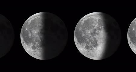 Phases of the Moon. Moon lunar cycle. Stok Video