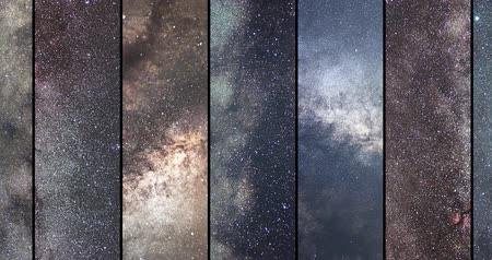 andromeda : Space collage. Astronomy collage. Astrophotography collage. universe. Long exposure photography. Stock Footage