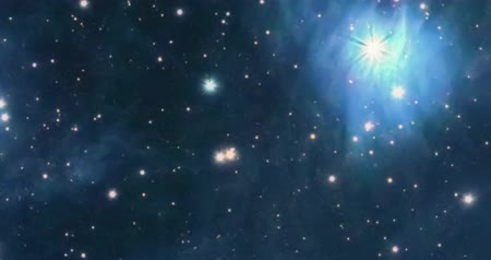 The Pleiades reflection nebula in the constellation of Taurus. Open star cluster. Stok Video