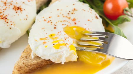 poached egg : the poached eggs with toast and salad