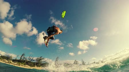 prancha de surfe : Extreme Sport Kite Surfing Concept in Slow Motion HD.