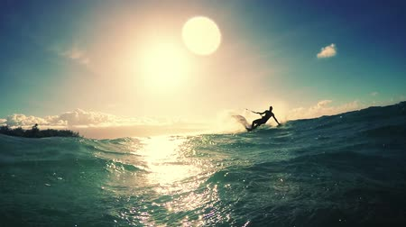ludzik : Young Man Kitesurfing in Ocean. Extreme Summer Sport. Slow Motion HD.