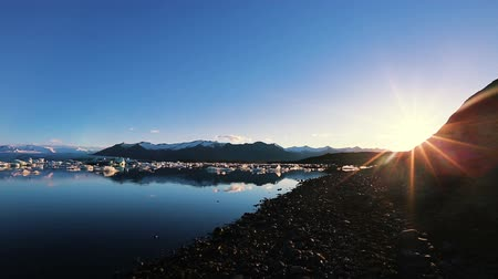 climate : Incredible Sunrise at Glacier Lagoon with Floating Icebergs. Global Warming Concept. Stock Footage