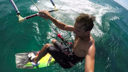 point of view pov : POV of Kiteboarder Catching Air on a Sunny Day in Hawaii