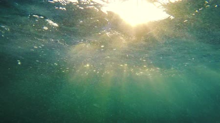 tyrkysový : Beautiful Underwater Sunset Rays of Light Floating Above and Below the Ocean Surface. Dostupné videozáznamy