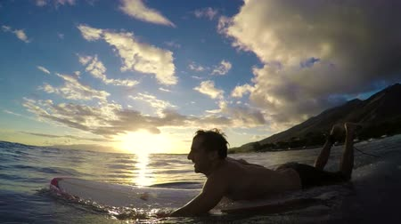 surfovat : Young Man Paddles out to Surf on a Longboard in Slow Motion at Sunset in Hawaii