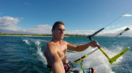 évad : Healthy Extreme Outdoor Summer Lifestyle. Attractive Brunette Man Kiteboarding in Ocean. Extreme Summer Sport HD. POV