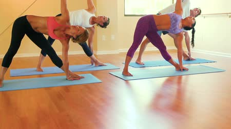 ginásio : Group of Yoga students Practicing Yoga in Yoga Studio. Wellness and Healthy Lifestyle. Motion Steadicam Shot. Stock Footage