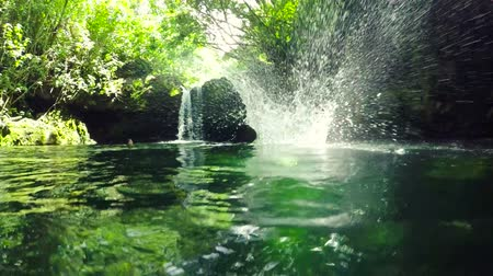 cliff : Slow Motion Young Man Jumps off Cliff Into Water. Summer Extreme Sports Outdoor Lifestyle. Backlit Lush Green Jungle in Hawaii. Stock Footage