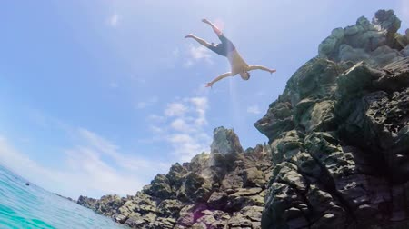 cliff : Extremely High Back Flip Cliff Jump into Water