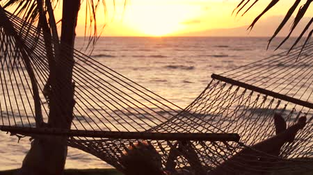 sunset sea : Young Woman with Blonde Hair Using Mobile Smart Phone while Relaxing in a Hammock by the Ocean Between Palm Trees at Sunset in Hawaii.