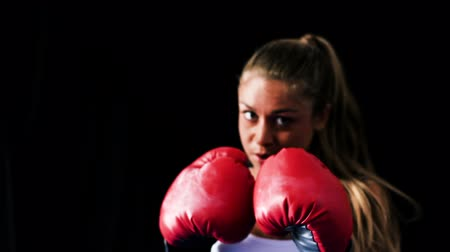 hareketli : Female Athlete Boxing Training. Woman Runs Towards Camera and Practices Throwing Boxing Punches. Healthy Active Lifestyle Stok Video