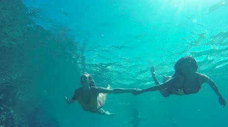 šnorchl : Slow Motion Beautiful Girls in Bikinis Swimming Underwater Holding Hands in Pacific Ocean. Hawaiian Ethnic Girl with Young Blonde Girl Friend. Summer Fun Lifestyle.