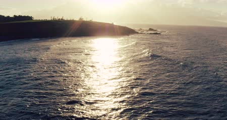 voar : Aerial Flight Over Ocean at Sunset Stock Footage