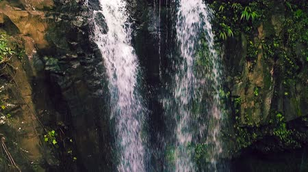 beautiful view : Aerial View of Waterfall in Tropical Jungle Paradise. Natural Beauty. Amazing Waterfall Aerial Landscape. Smooth Pan